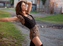 Sexy Woman in Leopard Print Leotard Royalty Free Stock Photography