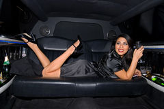 Sexy woman in Limo. Royalty Free Stock Image