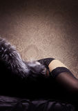 A sexy woman in lingerie and fur Royalty Free Stock Photos