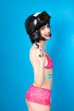 Sexy woman in lingerie wearing ski helmet Royalty Free Stock Photo