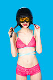 Sexy woman in lingerie wearing ski helmet Stock Photography
