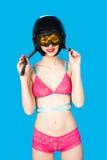Sexy woman in lingerie wearing ski helmet Stock Photo