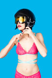 Sexy woman in lingerie wearing ski helmet Royalty Free Stock Photography