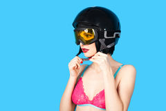Sexy woman in lingerie wearing ski helmet Stock Photos