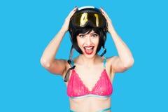 Sexy woman in lingerie wearing ski helmet Stock Photos
