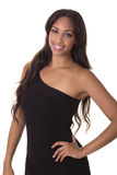 Sexy woman in a little black dress. Beautiful young woman with a big smile Royalty Free Stock Image