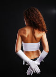 woman in long gloves. Royalty Free Stock Image