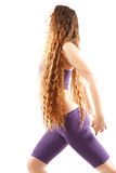 Sexy woman with  long hairs on yoga pose Royalty Free Stock Image