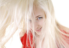 Sexy woman with long white hair Stock Photography