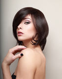 Sexy woman looking. Short black hair Stock Images