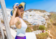 woman looking at the sun royalty free stock images