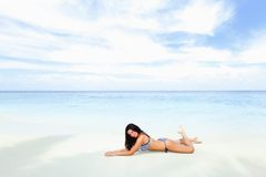 Sexy woman lying on the beach Royalty Free Stock Photo
