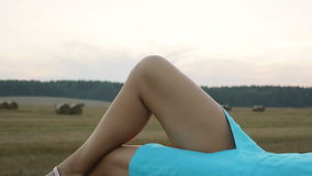 Sexy woman lying on the haystack. stock video