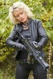 woman with machine gun royalty free stock photography