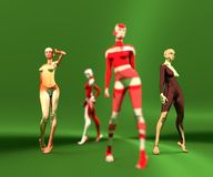 Sexy woman mannequins posing. 3d rendering. Fashion models painted by abstract pattern Royalty Free Stock Image