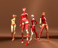 Sexy woman mannequins posing. 3d rendering. Fashion models painted by abstract pattern Stock Photography