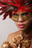 Sexy woman in mask. Sexy ethnic woman in mask Royalty Free Stock Photography