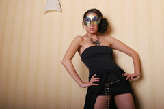 Sexy woman in mask. Sexy brunette woman in mask Stock Photos