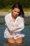 Sexy woman in men's shirt Stock Photography