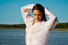 Sexy woman in men's shirt Royalty Free Stock Photography