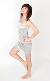 Sexy Woman in Metallic Silver Strapless Dress Stock Images