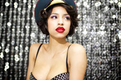 Sexy woman with military hat Royalty Free Stock Photography