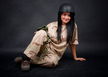 Sexy woman in military outfit Royalty Free Stock Photo