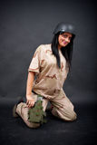 Sexy woman in military outfit Royalty Free Stock Photos