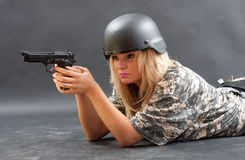 Sexy woman in military outfit Stock Photo