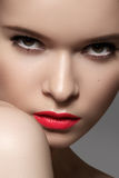Sexy woman model with bright red berry lips make-up. Fashion style Royalty Free Stock Photography