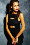 Sexy woman model  lady with red lips in black elegant dress Stock Image