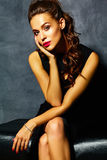 Sexy woman model  lady with red lips in black elegant dress Royalty Free Stock Images