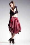 Sexy woman model posing casual in beautiful dress, boho-chic fashion Stock Photos