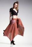 Sexy woman model posing casual in beautiful dress, boho-chic fashion Stock Image