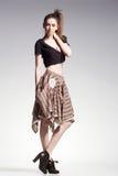 woman model posing casual in beautiful dress - fashion shot Stock Photo