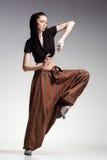 Sexy woman model posing in large (salwar) pants - fashion shot Stock Images