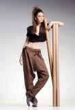 Sexy woman model posing in large (salwar) pants - fashion shot Royalty Free Stock Photo
