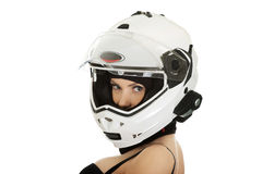 Sexy woman with motorcycle helmet. Stock Image