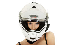 Sexy woman with motorcycle helmet. Royalty Free Stock Images