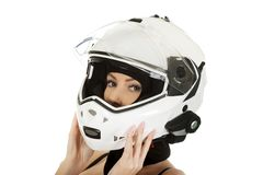 Sexy woman with motorcycle helmet. Royalty Free Stock Photos