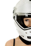 Sexy woman with motorcycle helmet. Stock Photo