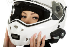 Sexy woman with motorcycle helmet. Stock Photography