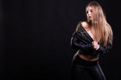 Sexy woman with no bra in leather jacket Royalty Free Stock Photo