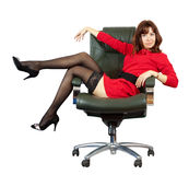 Sexy woman  on  office armchair Stock Image