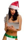 Sexy woman opening gift box Royalty Free Stock Photo
