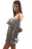 Sexy Woman in Oversize Man's Jacket Stock Photography