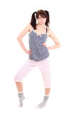Sexy woman in pajamas over white Royalty Free Stock Photo