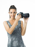 Sexy woman photographer Royalty Free Stock Photos