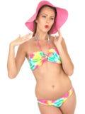 Sexy Woman Pin Up Model in a Bikini Royalty Free Stock Photography