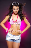 Sexy woman on pink Royalty Free Stock Images